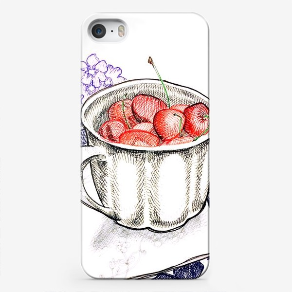 Чехол iPhone «Вишня в чашке»
