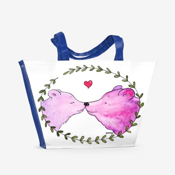 Пляжная сумка «Люблю. Мишки»