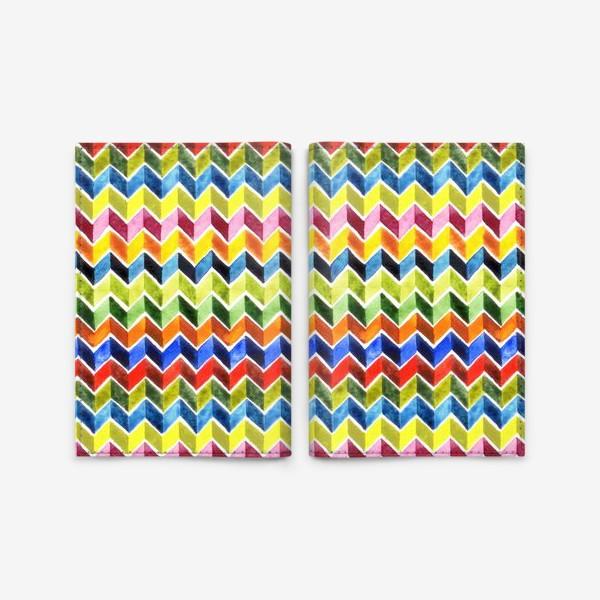 Обложка для паспорта «Цветные зигзаги на белом»