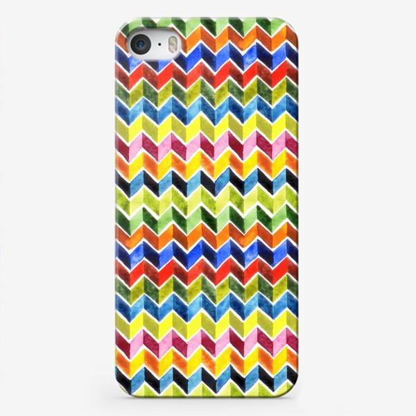 Чехол iPhone «Цветные зигзаги на белом»