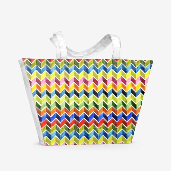 Пляжная сумка «Цветные зигзаги на белом»