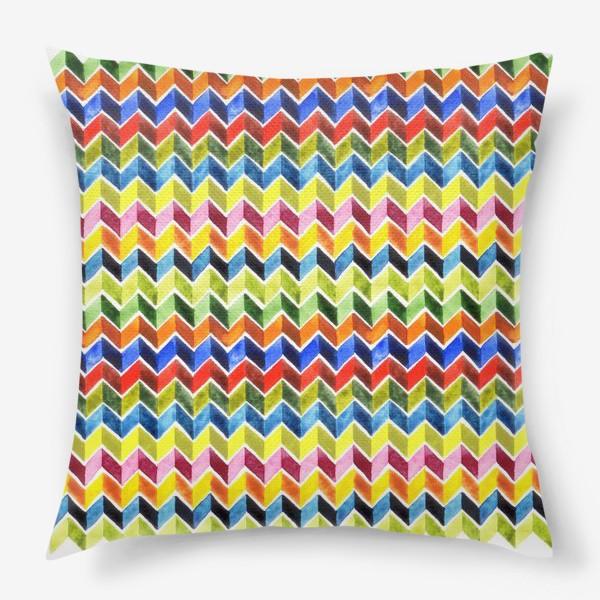 Подушка «Цветные зигзаги на белом»