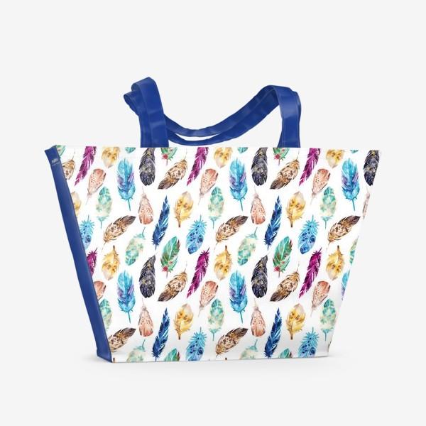 Пляжная сумка «Акварельные перья»
