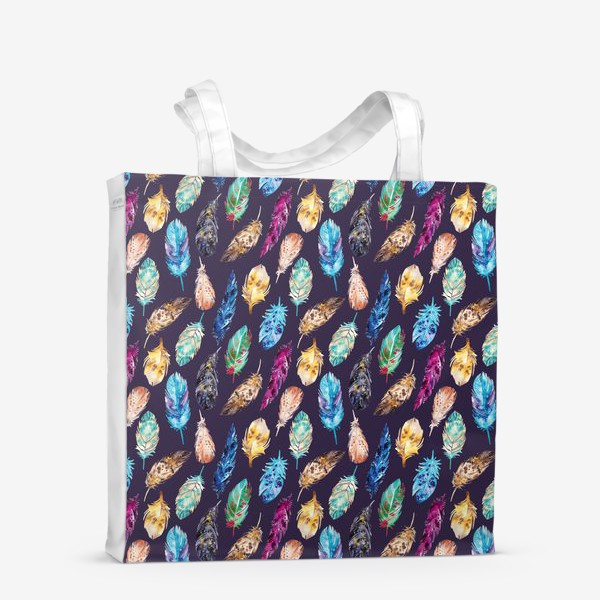 Сумка-шоппер «Акварельные перья темные»