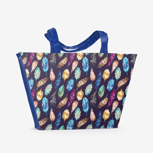 Пляжная сумка «Акварельные перья темные»