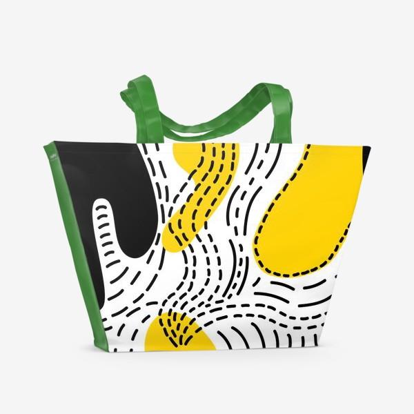 Пляжная сумка «Стильный геометрический узор пятна и стежки»