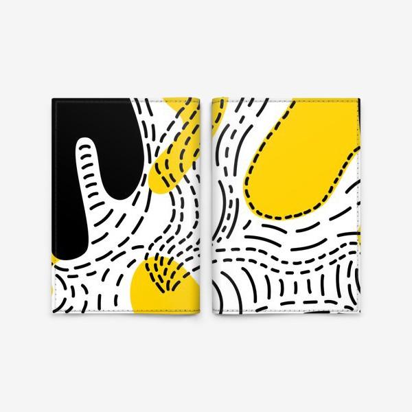 Обложка для паспорта «Стильный геометрический узор пятна и стежки»