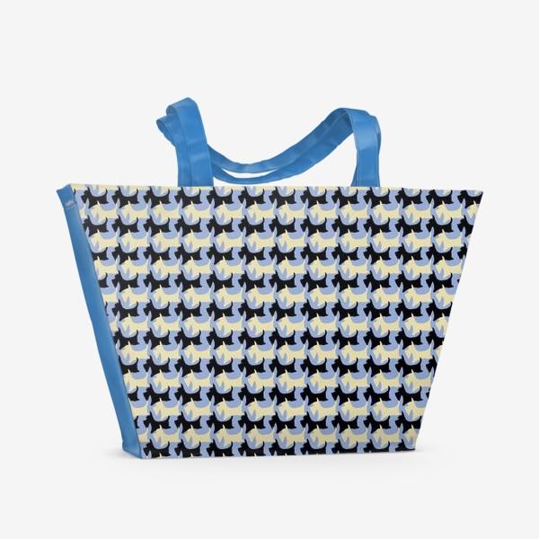 Пляжная сумка «Геометрический паттерн шотландский терьер пшеничный и черный»