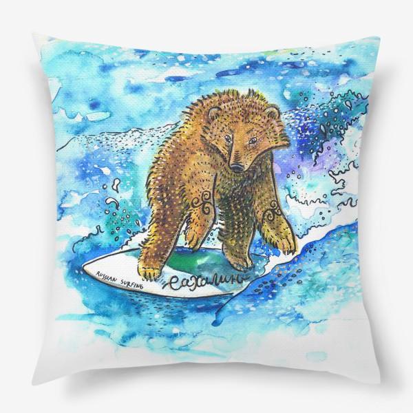 Подушка «Медведь на серфе»