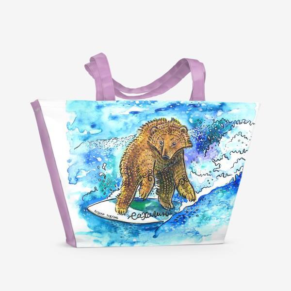 Пляжная сумка «Медведь на серфе»