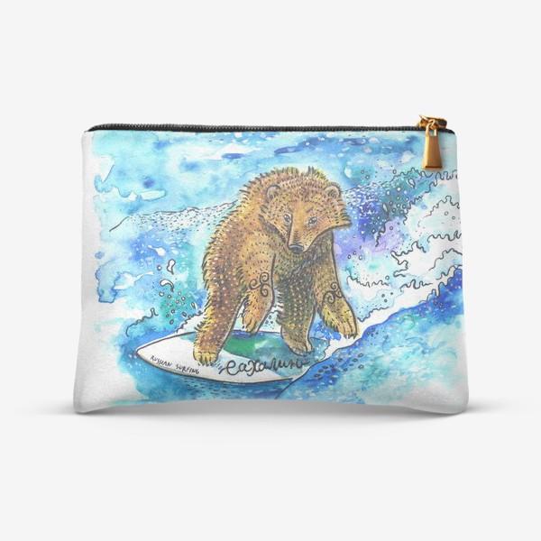 Косметичка «Медведь на серфе»