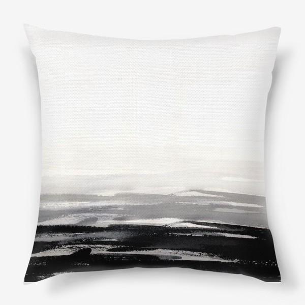 Подушка «Черно-белая акварель»