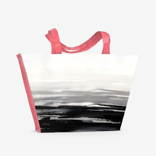 Пляжная сумка «Черно-белая акварель»