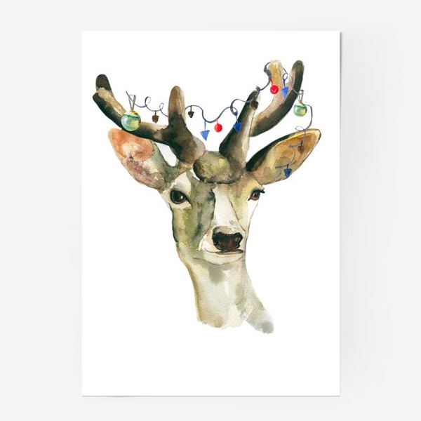 Постер «Лось новогодний »
