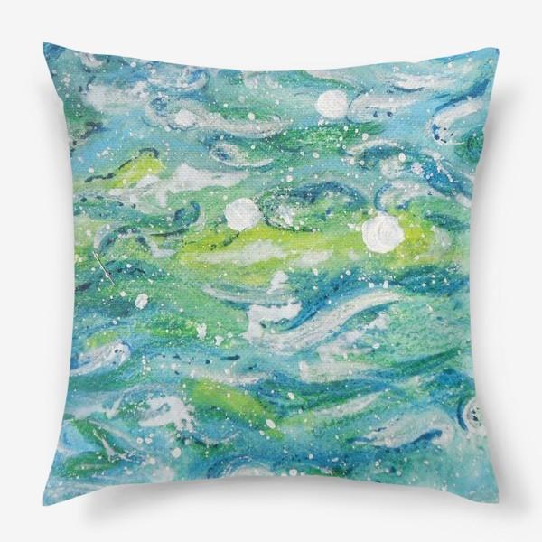 Подушка «Волны. Абстракция.»