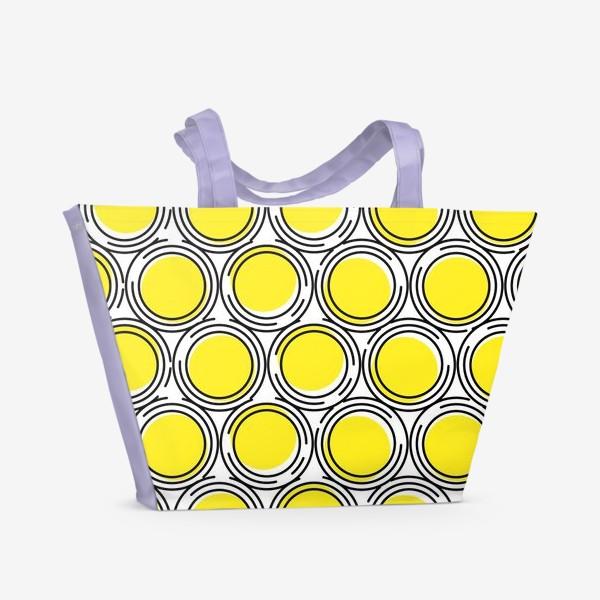 Пляжная сумка «Геометрический узор желтые круги»