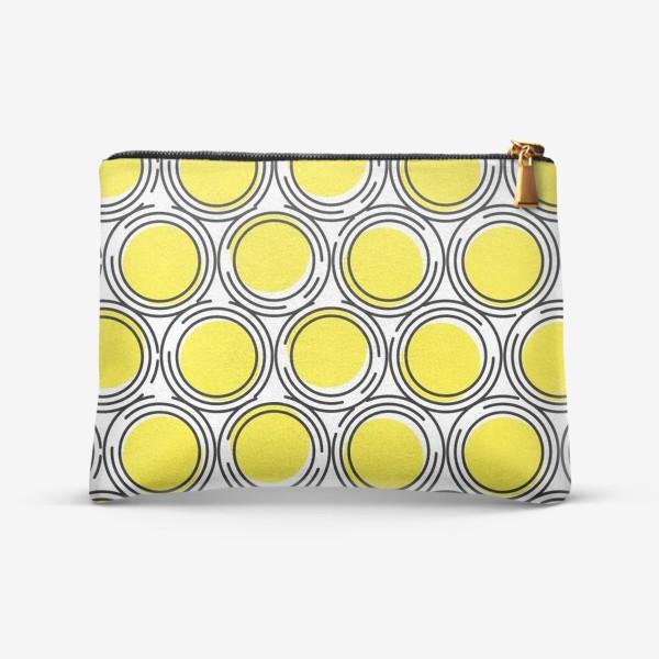 Косметичка «Геометрический узор желтые круги»