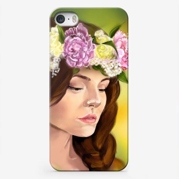 Чехол iPhone «девушка с цветами»