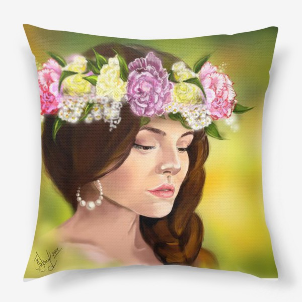 Подушка «девушка с цветами»