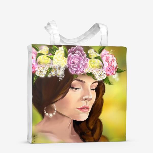 Сумка-шоппер «девушка с цветами»