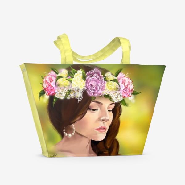 Пляжная сумка «девушка с цветами»