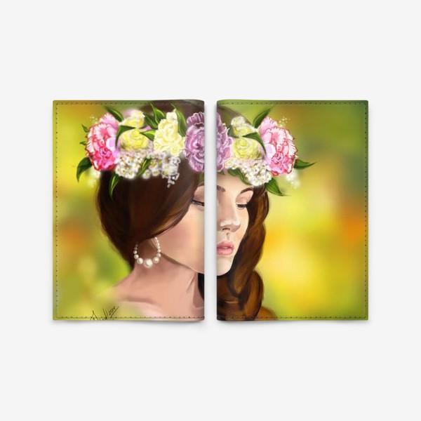 Обложка для паспорта «девушка с цветами»