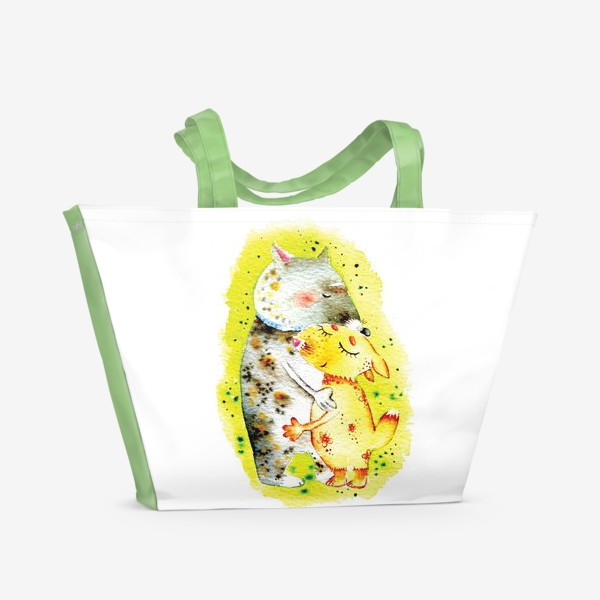 Пляжная сумка «Волк и лисичка»