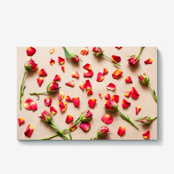 Холст «Розы и лепестки»