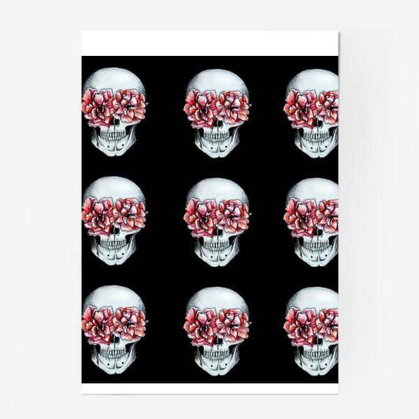 Постер «Паттерн: череп в цветах»