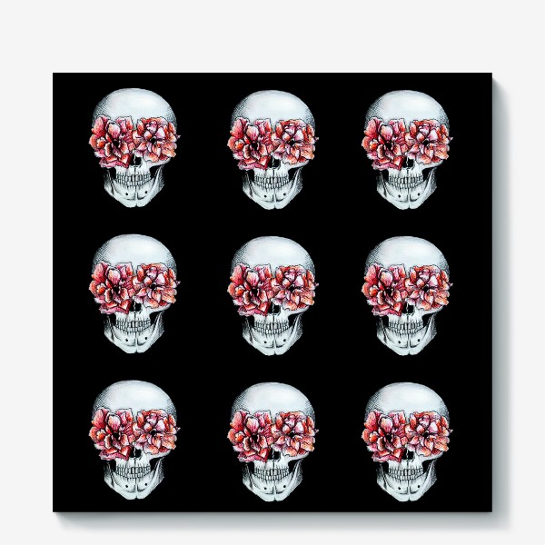 Холст «Паттерн: череп в цветах»