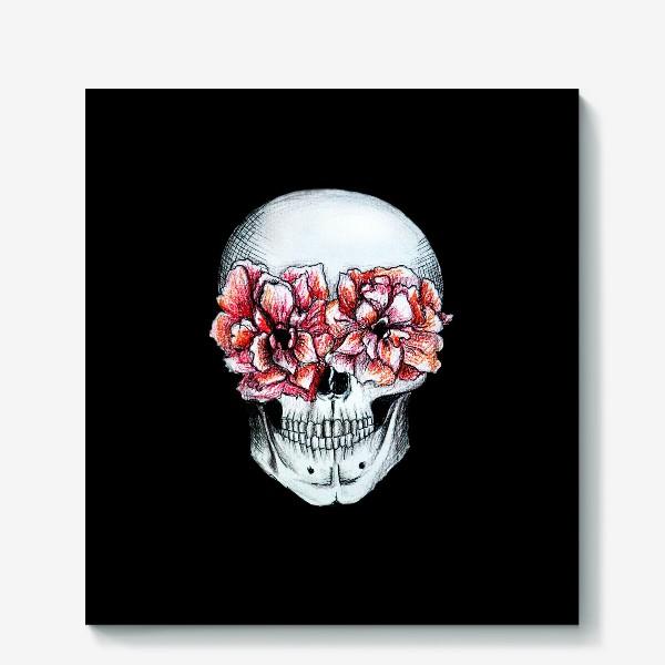 Холст «Череп в цветах»