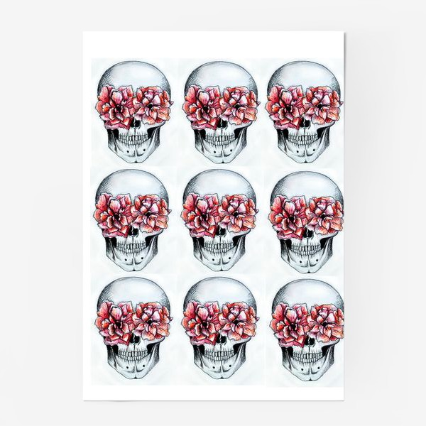 Постер «Паттерн: череп в цветах(белый)»