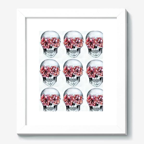 Картина «Паттерн: череп в цветах(белый)»