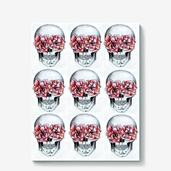 Холст «Паттерн: череп в цветах(белый)»
