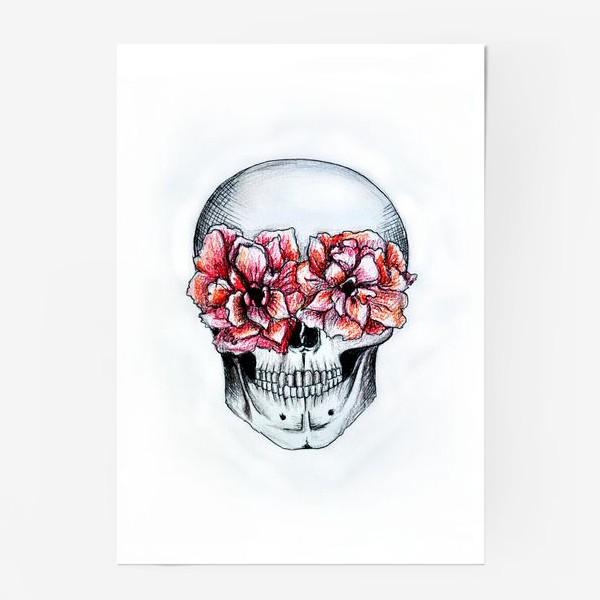 Постер «Череп в цветах(белый)»