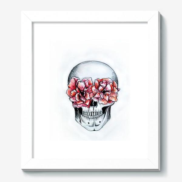 Картина «Череп в цветах(белый)»