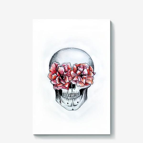 Холст «Череп в цветах(белый)»