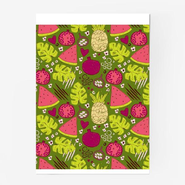 Постер «Паттерн с тропическими фруктами»