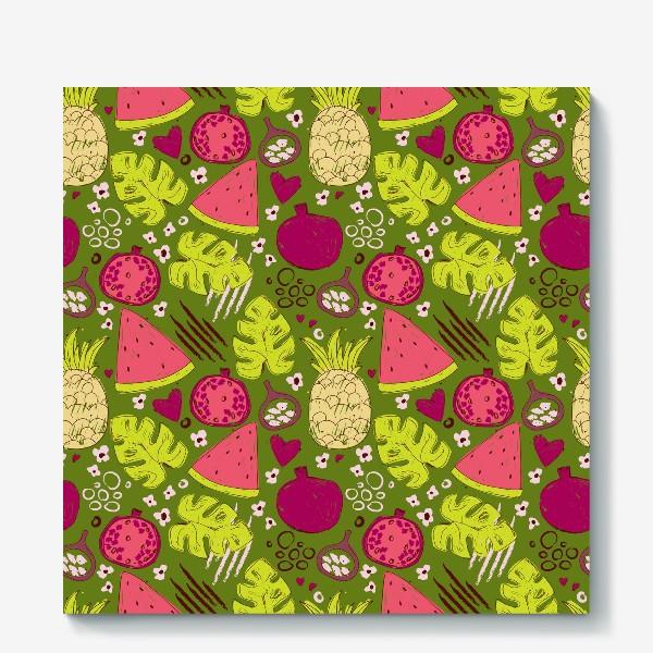 Холст «Паттерн с тропическими фруктами»