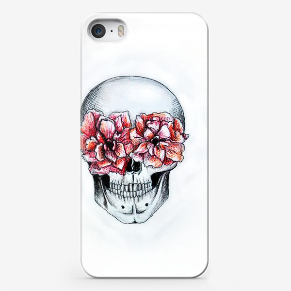 Чехол iPhone «Череп в цветах(белый)»