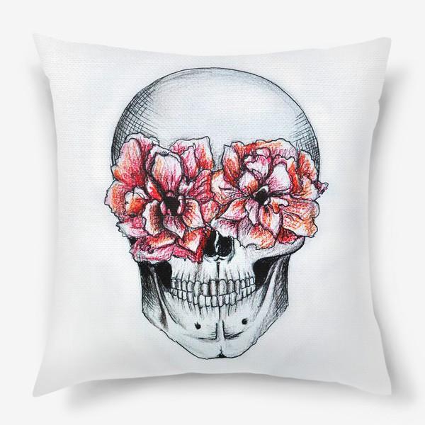 Подушка «Череп в цветах(белый)»