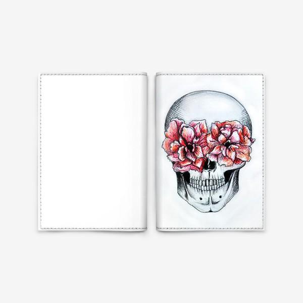 Обложка для паспорта «Череп в цветах(белый)»