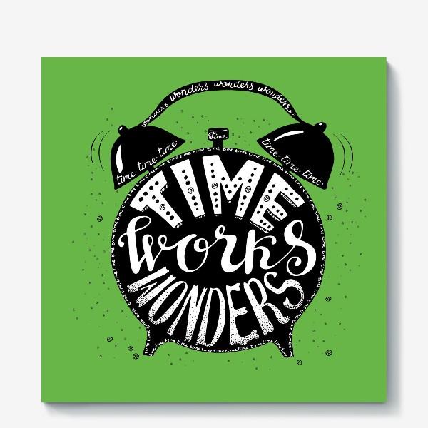Холст «Будильничек на зеленом»