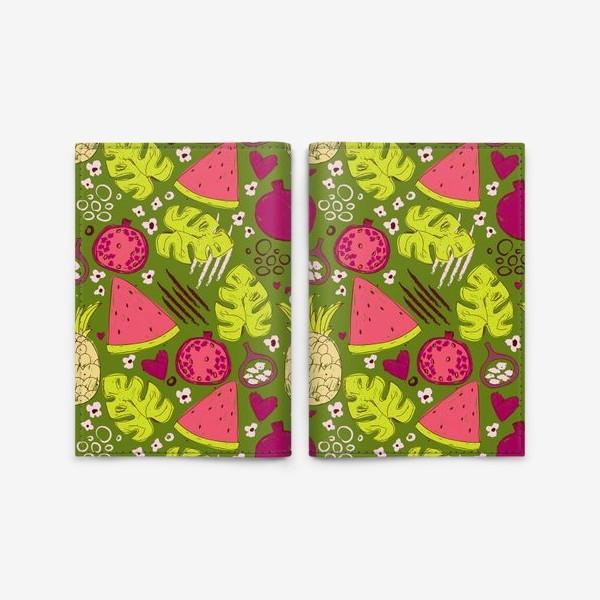 Обложка для паспорта «Паттерн с тропическими фруктами»