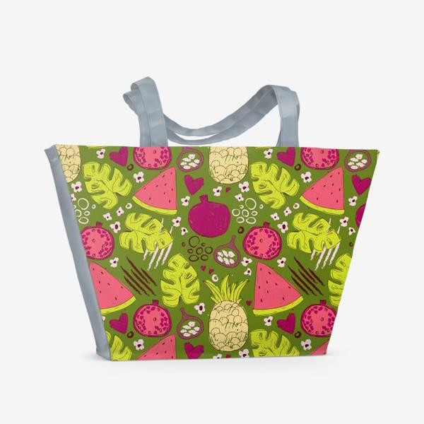 Пляжная сумка «Паттерн с тропическими фруктами»