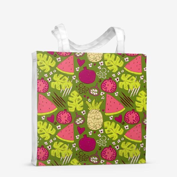 Сумка-шоппер «Паттерн с тропическими фруктами»