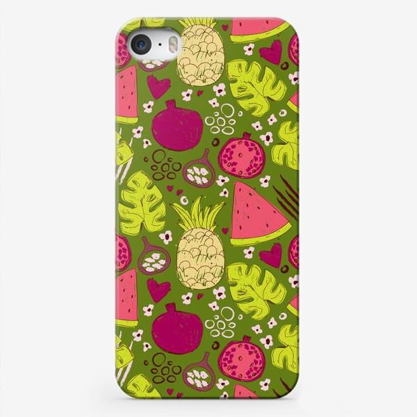Чехол iPhone «Паттерн с тропическими фруктами»