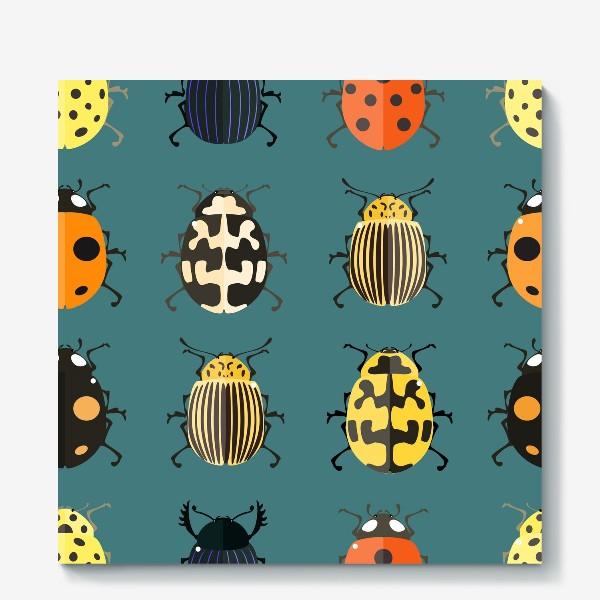 Холст «Цветные жуки»