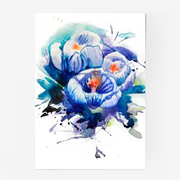 Постер «Акварельные голубые цветы»