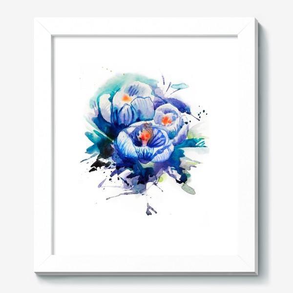 Картина «Акварельные голубые цветы»